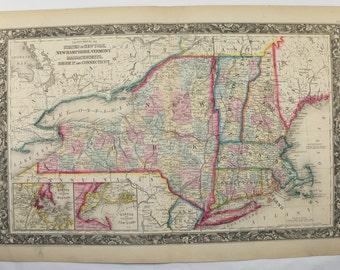 New York Map Antique Map Massachusetts Connecticut Map New Hampshire Vermont Map Rhode Island 1860 Mitchell Map, East Coast State Art Map