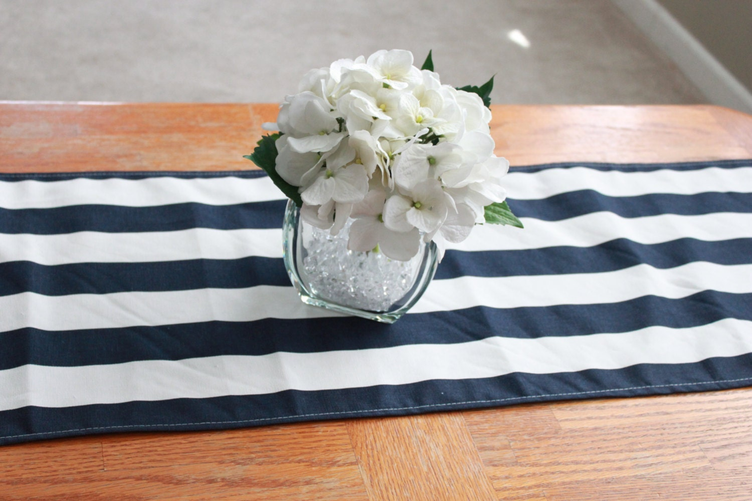 9x70 Navy And White Striped Table Runner