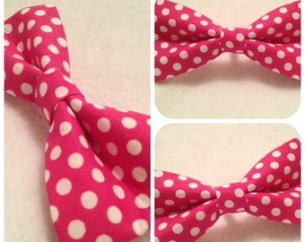 Nautical Puppy Dog Bow-tie Hot Pink and White Polka Dots