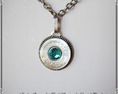 silver rodeo queen re-purposed shotgun shell swarovski zircon crystal pendant