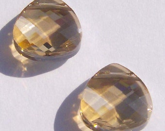 Swarovski crystal pendant FLAT BRIOLETTE 6012 Crystal Pendant Golden Shadow  -- Available in 2 sizes 11mm and 15mm