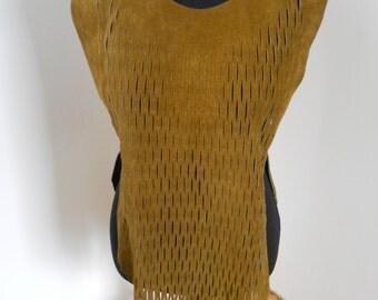1970s Leather Mesh Vest Womens S/M/L