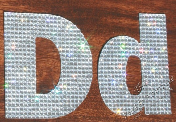 Rhinestone letter alphabet stickers aabb die cut peel stick for Stick on letters for glass