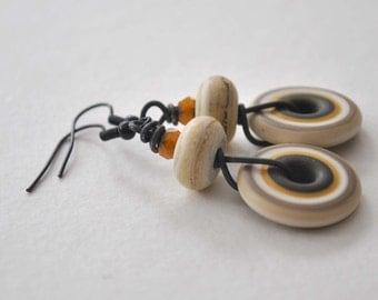 Sand Earrings, Lampwork Glass Earrings, Earthy Disc Earrings, Glass Bead Earrings, Neutral Earrings, Boho Chic Earrings