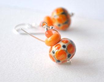 Orange Earrings,  Lampwork Glass Earrings, Cream Earrings, Artisan Glass Earrings