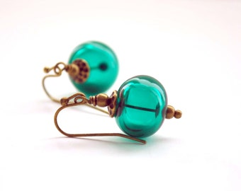 Teal Green Earrings, Light Weight Hollow Earrings, Glass Bead Earrings