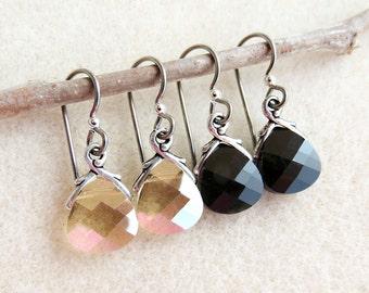 Swarovski Crystal Earrings, Non-allergenic Niobium Earwires, Golden Shadow, Jet Black, Silver Gray, Hypoallergenic Handmade Earrings Jewelry