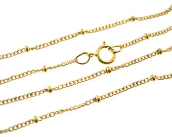 New! 16 Inches High Quality Satellite / Saturn Chain 2 mm Curb Gold Filled Chain  - Select Quantity from Dropdown Menu for Bulk Discount