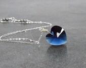 Swarovski Heart Pendant, Sapphire Blue Crystal Heart Sterling Silver September Birthday Love Gift Under 35