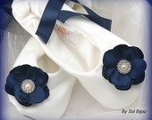 Bridal Flats, Ivory, Navy Blue, Wedding, Bridal, Shoes, Flats, Flower Girl, Ballerina Slippers, Satin, Floral, Lace Up, Destination, Garden