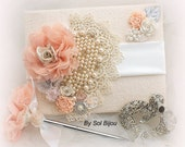 Guest Book, Ivory, Champagne, Blush, Peach, Coral, White, Gray, Signature Book, Signing Pen, Pearls, Crystals, Lace, Elegant Wedding