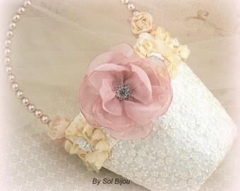 Flower Girl Basket, Dusty Rose, Cream, Ivory, Tan, Champagne, Elegant Wedding, Bridal, Lace, Pearls, Crystals, Vintage Style, Gatsby