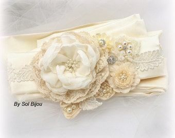 Sash, Ivory, Cream, Vintage Wedding, Bridal, Maid of Honor, Gatsby Wedding, Elegant Wedding, Satin, Lace, Pearls, Crystals