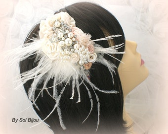 Feather Headband, Champagne,Tan, Beige, Ivory, Cream, Blush, Fascinator, Wedding, Bridal, Maid of Honor, Pearls, Crystals, Vintage Style