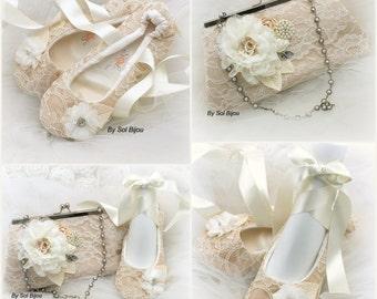 Purse, Ballet Flats, Tan, Beige, Champagne, Ivory, Gold, Handbag, Bag,Lace Purse,Lace Flats,Elegant Wedding,Vintage Style,  Crystals, Pearls