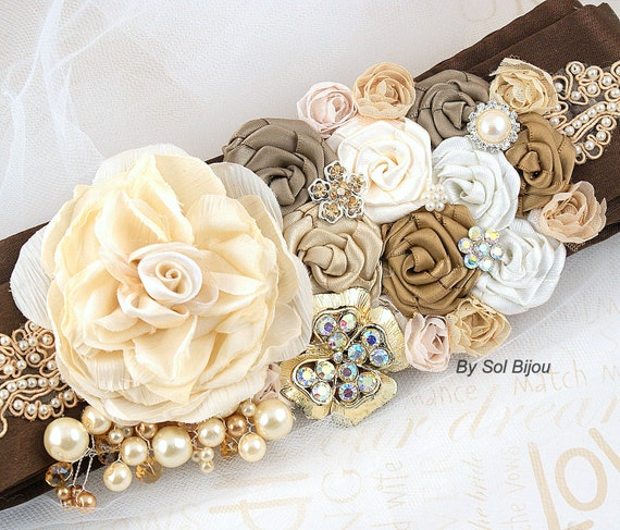 Sash, Weddng, Bridal, Chocolate, Brown, Ivory, Cream, Gold, Tan, Champagne, Beige, Pearls, Lace, Crystals, Vintage Wedding