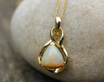 Milky White Opal Necklace - Australian Opal Necklace - Pyramid Opal - 10K Gold Setting