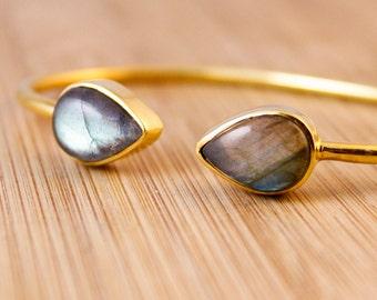 Gold Blue Labradorite Dual Stone Bangle - Midnight Blue - Adjustable Bangle