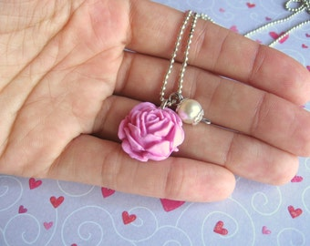 roantic rose necklace - handmade with polymer clay