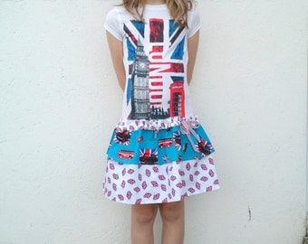 London UK T shirt Dress Ages 8-9