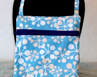 Cross body Mini messenger bag and cell phone pouch- blue body with abstract snowflakes KBD10149