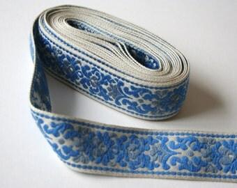 Vintage Woven Upholstery Trim Blue Grey Gray Floral Design