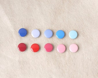 50 sets, Blue and Pink Shade (10 colors) Capped Prong Snap Button, Size 18L (11.3 mm)