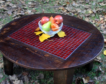 """Round Mosaic Coffee Table, Glass Tile Centerpiece, Reclaimed Wood, Rustic Contemporary, """"Fire & Ice"""", Dark Brown Waxed Finish - Handmade"""