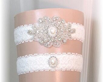 Ivory Wedding Garter Set - Bridal Garter - Vintage Style Ivory Lace and Crystal Garter Set Keepsake and Toss Custom Made to Order