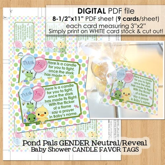 pond pals baby shower candle favor tags pdf file candles tealight tag poem gender reveal duck
