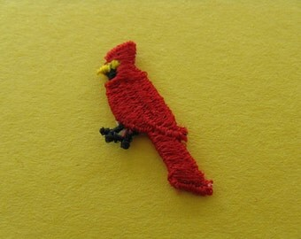 red cardinal patch red bird appliqué vintage jacket patch new old stock
