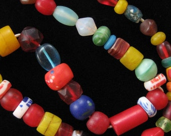 African Trade Beads Strand, Interesting Bright Mix, Some Very Old