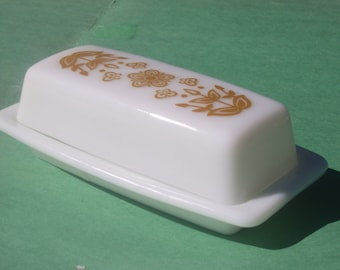 Retro Pyrex Golden Butterfly Butter Dish