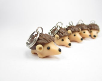 Hedgehog Knitting Stitch markers - set of 5 - polymer clay