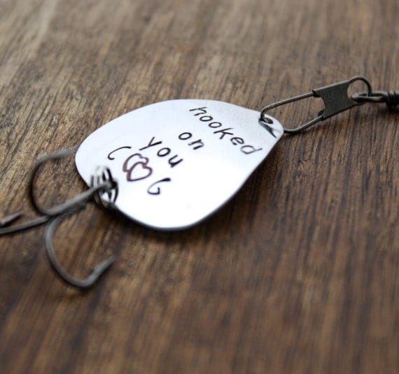 Hooked on you fishing lure personalized by sierrametaldesign for Personalized fishing lure