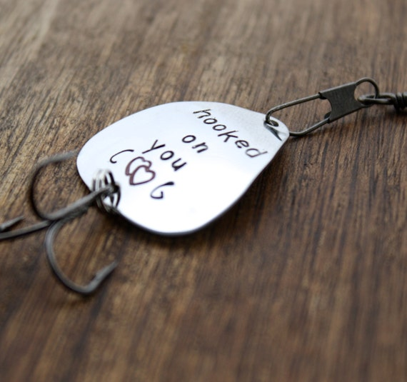 Hooked on you fishing lure personalized by sierrametaldesign for Engraved fishing lures