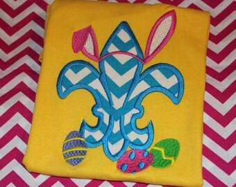 Easter fleur de lis with bunny ears- tshirt, baby bodysuit, or dress