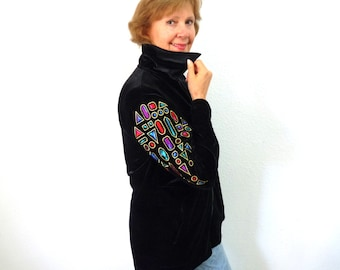 Vintage Black Velvet Embroidered by Jacket Bob Mackie wearable art Zip front Party Evening M/L