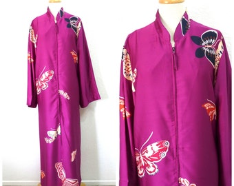 Vintage 80s Silk Robe Butterfly Print Maxi Housecoat Kimono Loungewear by Natori Bridesmaid Robe Size L