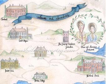 Sense and Sensibility Map art print.  Jane Austen. 8x10.