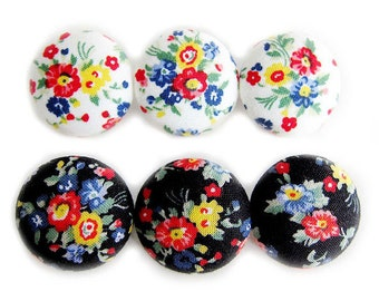 Sewing Buttons / Fabric Buttons - Country Floral on White and Black - 6 Large Fabric Buttons