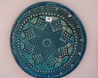 Ceramic, lacey, turquoise, decorative plate