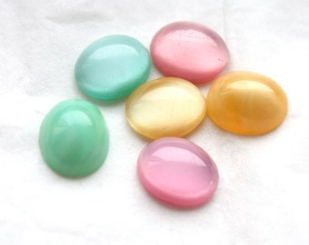 12 Vintage Opalescent Moonstone Flat Back Oval Glass Cabochons // 12 x 10 mm // Jellybean Pastel Colours