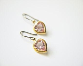 Light Purple Heart Swarovski Crystal Titanium Earrings Vintage Dainty Romantic Valentine