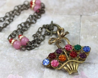 Vintage Flower Basket Brooch Pendant Necklace - Daisy Cut Cabochons - Candy Pink and Red Glass Beads - Vintage Assemblage by Boutique Bijou