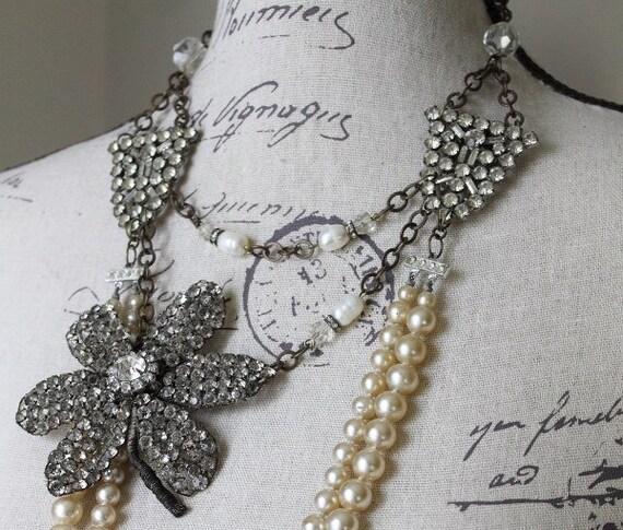 Assemblage Vintage Necklace w/ Vintage Pearls -  Rhinestone Flower Applique Embellishment - Deco Dress Clips - Statement by Boutique Bijou