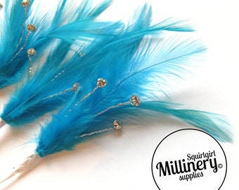 3 Turquoise Hackle Feather & Diamante / Rhinestone Wired Spray Mounts for Fascinators, Wedding Bouquets and Hat Trimming