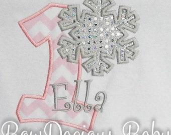 Girls Personalized Snowflake Birthday Shirt, Snowflake First Birthday Shirt, Snowflake Bodysuit, Girls Snowflake Bodysuit