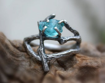 Rough apatite statement branch ring raw gemstone uncut natural twig sterling silver statement made to order