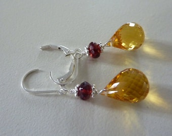 Earrings,authentic garnet & citrine gemstones,sterling silver,artisan jewelry,fine,wire wrapped,orange,unique designer